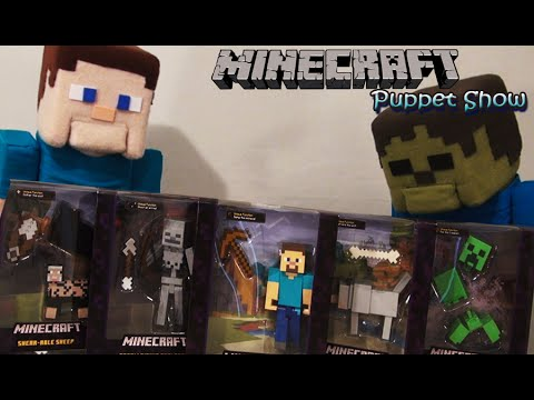 Minecraft Reviews Survival mode Figures Mattel Unboxing - Puppet Steve
