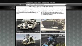 GTA 5 HOW TO BUY ALL MILITARY VEHICLES RHINO TANK, BARRACKS, BUZZARD, CARGOBOB (WARSTOCK WEBSITE)
