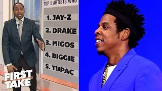 Jay-Z tops Stephen's A. top 5 rappers who impact the NBA list | First Take