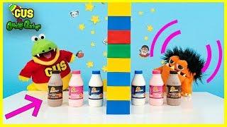 Twin Telepathy Milkshake Challenge with Moe the Monster