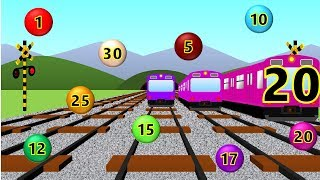 Learn to Count to 30 with Train for Kids | 電車踏切知育アニメ