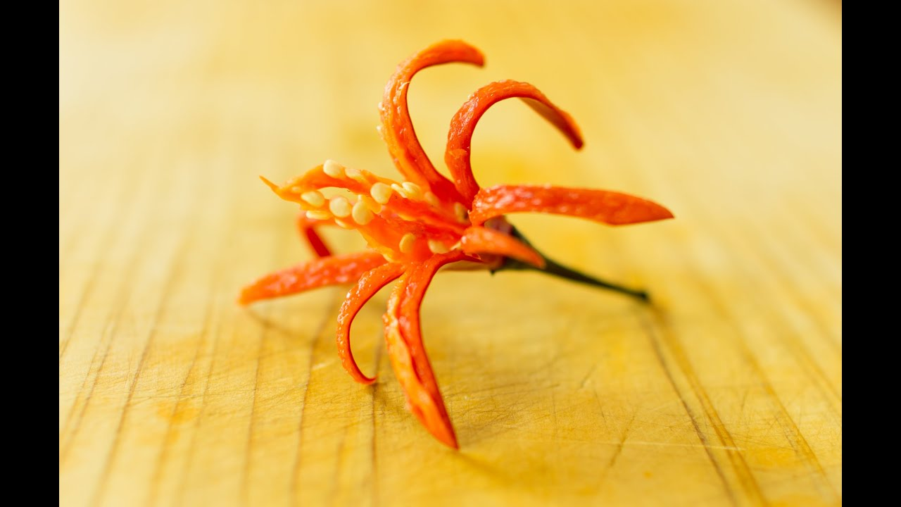 How To Make Garnish Fire Bloom Chili Youtube