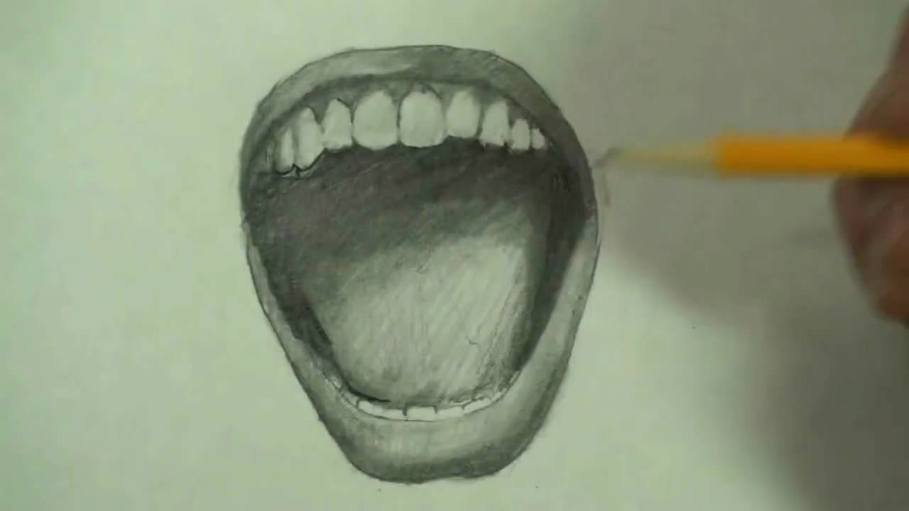 how to draw an opened mouth
