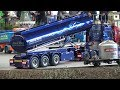 RC Hydraulic Dump Truck with underbody lighting in Action