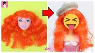 Biến hóa búp bê tóc đỏ- VẼ MẶT + LÀM TÓC / Repainting Dolls / Ami DIY