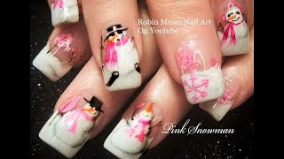 Winter Nails! | Pink Snowman Nail Art Design