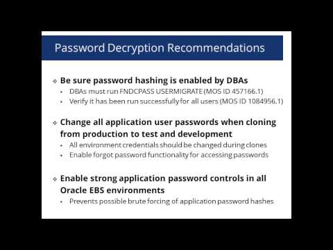 Oracle E-Business Suite Account Password Decryption Threat Explored