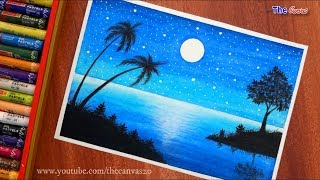 How to Draw Blue Scenery of Moonlight with oil pastels for beginners || Step by Step