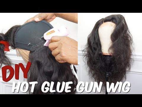 HOW TO   QUICK WEAVE LACE CLOSURE WIG USING HOT GLUE GUN   PART 1    FT TRENDY BEAUTY HAIR