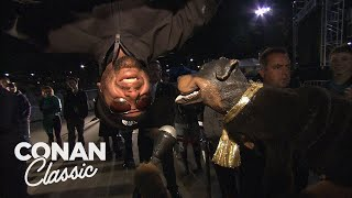 Triumph Reports On David Blaine's Upside Down Stunt - Conan25: The Remotes