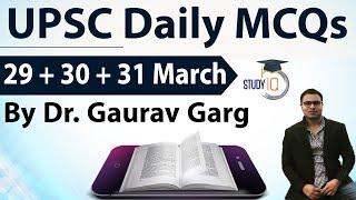 UPSC Daily MCQs on Current Affairs - 29 + 30 + 31 March 2018 - for UPSC CSE/ IAS Preparation Prelims