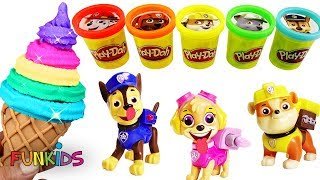 Learn Colors with Play Doh and Paw Patrol Rainbow Ice Cream