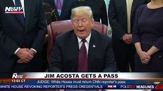 WATCH: President Trump Responds To CNN's Jim Acosta Getting Press Pass Back
