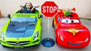 Funny baby doll and Funny kid Driving Car  Pretend play ride on POWER WHEEL video for children