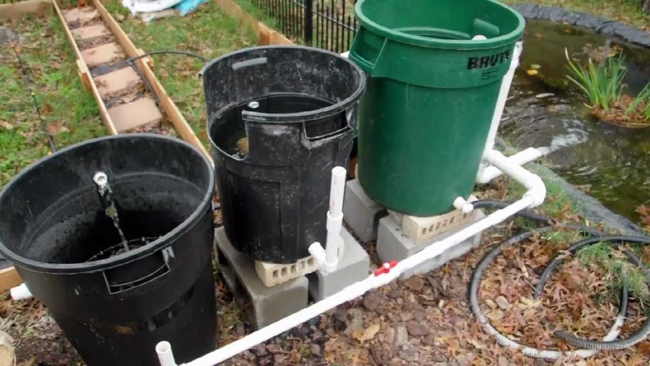 Cheap diy bio pond filter that works youtube for Diy fish pond