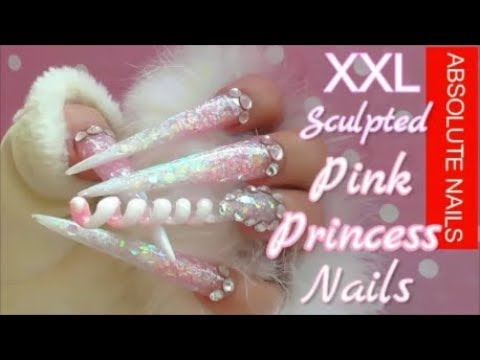 PINK PRINCESS SCULPTED SPIRAL XXL NAILS w/ voice over   ABSOLUTE NAILS