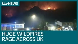 Wildfires ravage UK following hot weekend weather | ITV News