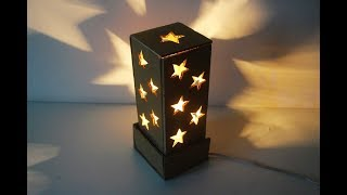 How To Make A Starry Cardboard Lampshade  | Cardboard Craft Idea  | DIY Home Tutorial