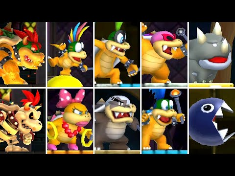 New Super Mario Bros. 2 (3DS) - All Koopaling and Bowser Boss Fights (All Castle Bosses)