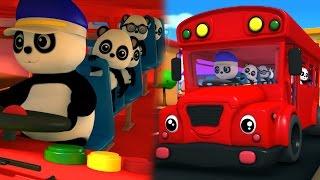 Bảo gấu trúc bánh xe trên xe buýt | 3D Nursery của Rhyme| Bao Panda Songs | Wheels on the Bus