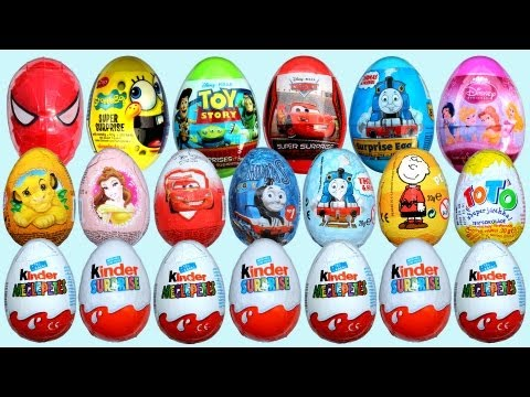 20 Surprise Eggs 7 Kinder Surprise Disney Pixar Cars 2 Thomas Spongebob