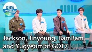 Jackson, Jinyog, BamBam, and Yugyeom of GOT7 IDOL on Quiz  KBS WORLD TV 210113