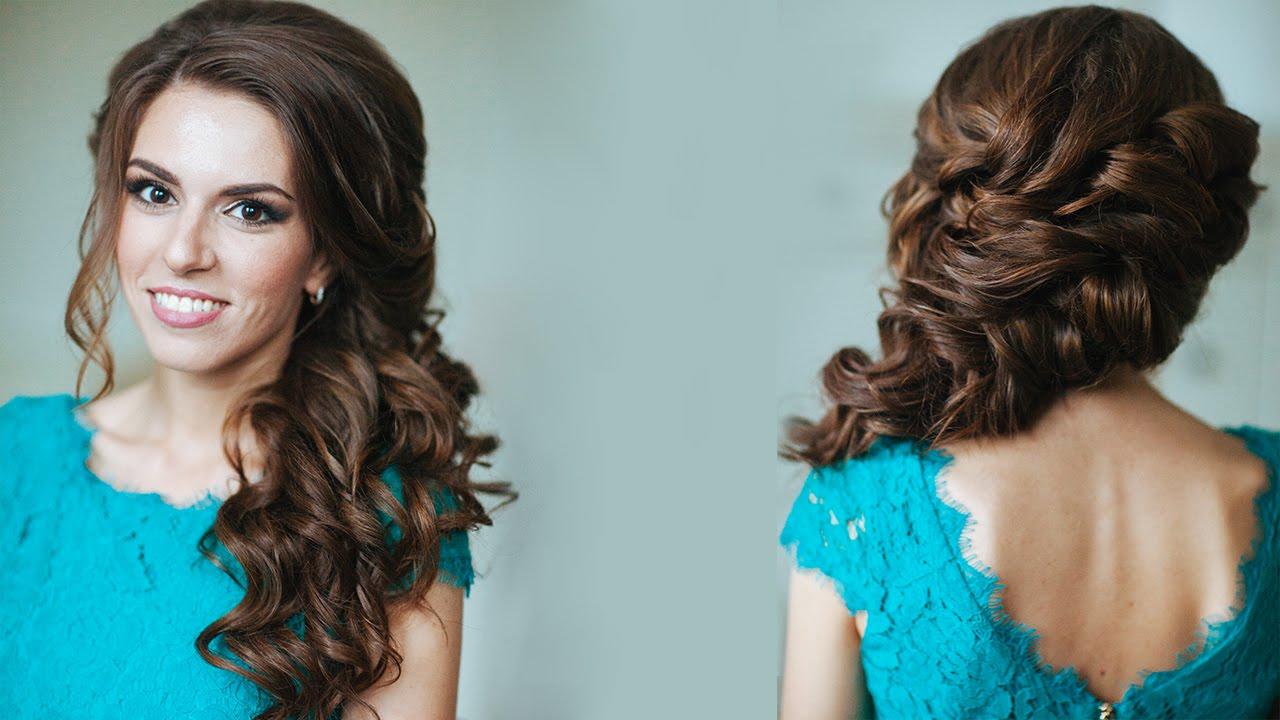 Прическа коса и кудри на бок