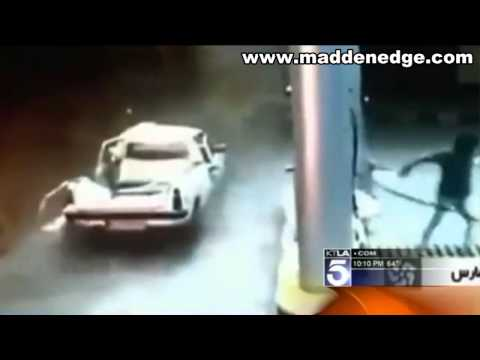 Car Explodes While Man Is Pumping Compressed Natural Gas In Iran!