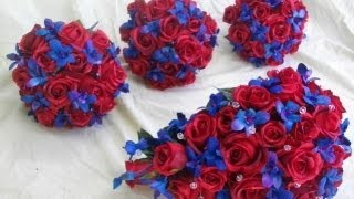 Red Satin Roses With Blue,turquoise,purple Galaxy Orchids
