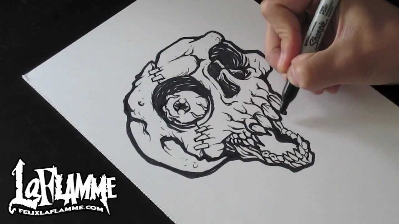 Skull drawing a skull speed drawing youtube for Cool art design ideas