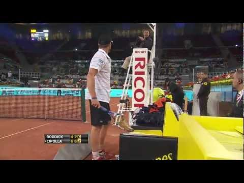 Andy Roddick best tennis racket smash off all time, checks for warning, then smashes it again.