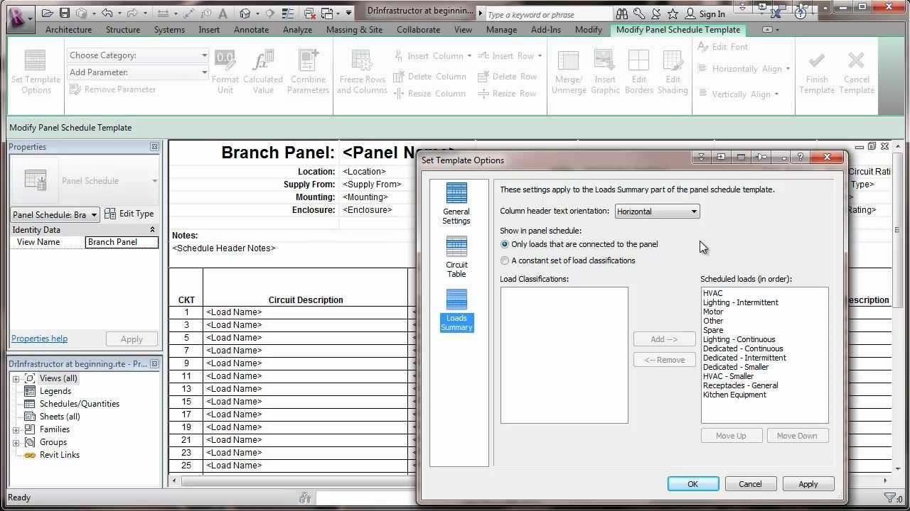 Revit 2013 Mep Set Electrical Panel Schedule Template