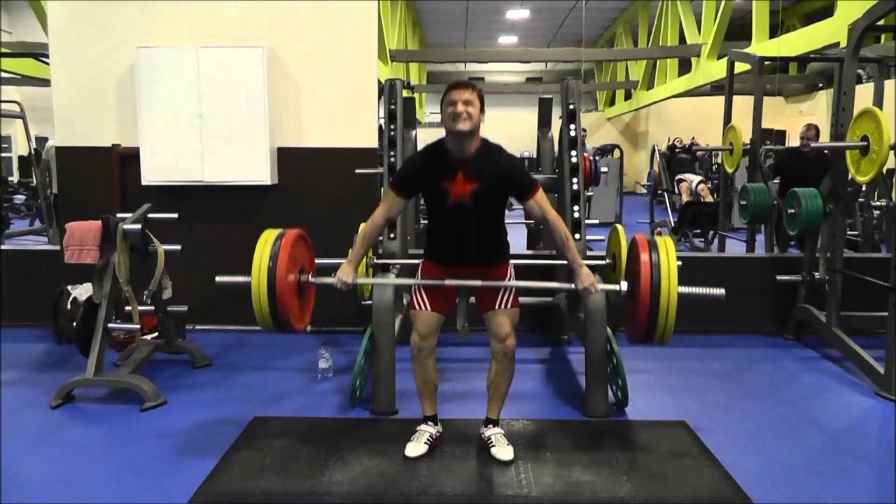 Становая тяга рывковым широким хватом 180 кг