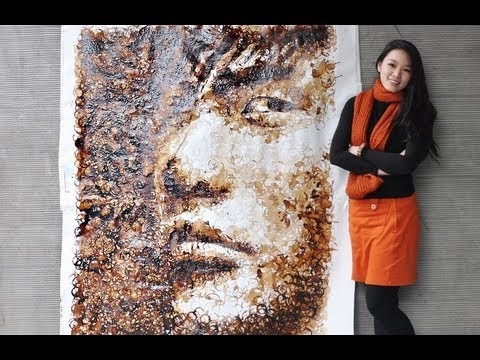 Red - Jay Chou Portrait with Coffee Cup Stains 用咖啡漬畫周傑倫