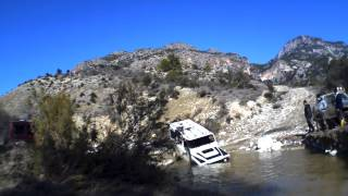 mercedes g wagen to the rescue of lr defender which almost sank underwater.MOV