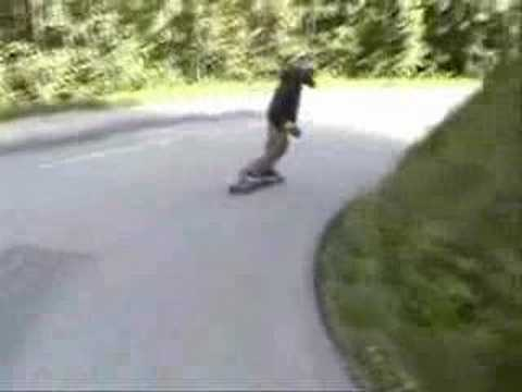 Downhill longboarding session to Chamonix, France