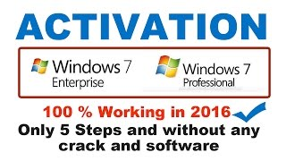 How to activate windows 7 professional|How to activate windows 7 enterprise 100% working Latest 2016