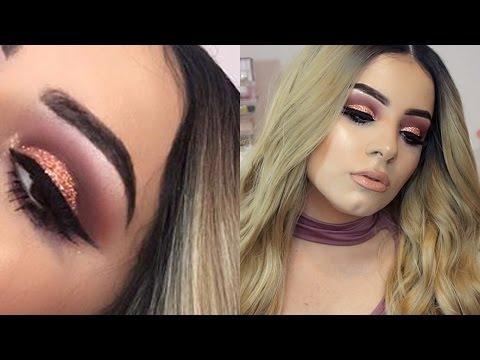 Rose Gold Glitter Cut Crease Eyeshadow Tutorial