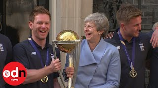 Theresa May Welcomes England Cricket Heroes To Downing Street For World Cup Celebrations