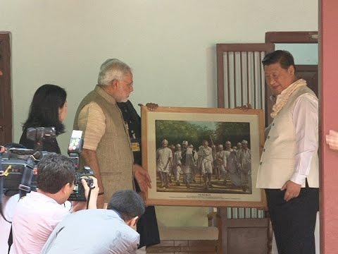 PM Modi & Chinese President Xi Jinping visit Sabarmati Ashram