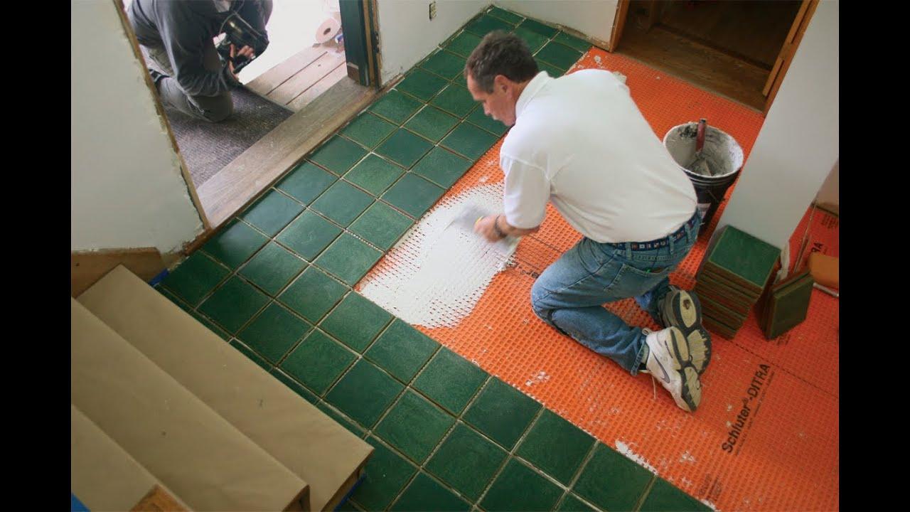 Tile floor installation subfloor