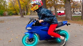 Funny Kids Ride on Sportbike / Unboxing and Assembling new Cross Bike for Children