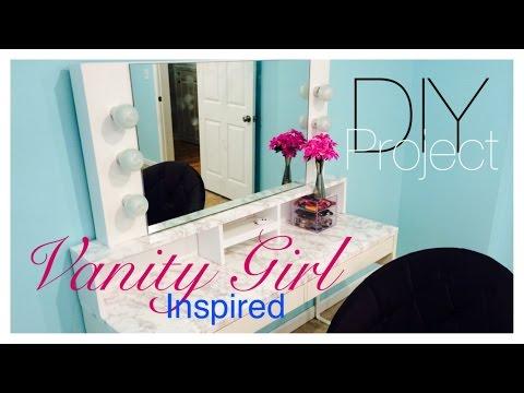 Diy makeup vanity with lights