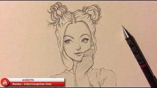 KIZ ÇİZİMİ / Drawing Anime Girl - 11