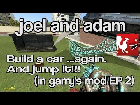 Joel and Adam jump a car in episode 2 of Garry's Mod