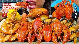EATING SPICY SEAFOOD BOIL, CRAWFISH, MUSSELS, RED SHRIMPS & SAUSAGES ASMR 먹방 Real Sounds