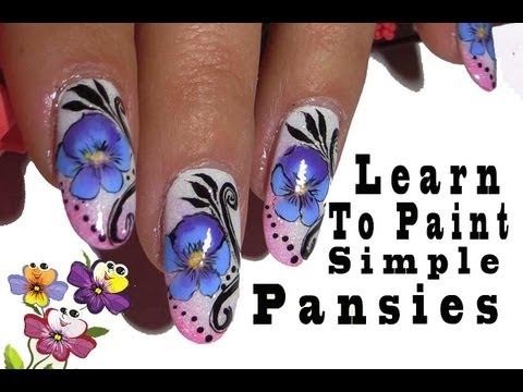 Pansies Nail Art Tutorial .Simple One Stroke Technique