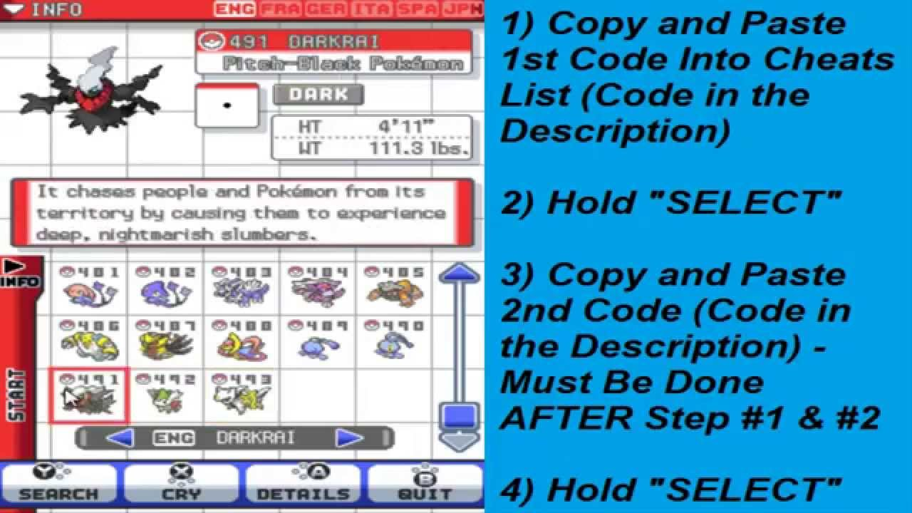 Pokemon Heart Gold Soul Silver Pokedex Cheat Code Youtube