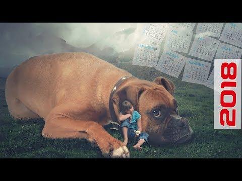 Как сделать календарь в Фотошоп. Создаем сказочный коллаж с собакой для календаря 2018