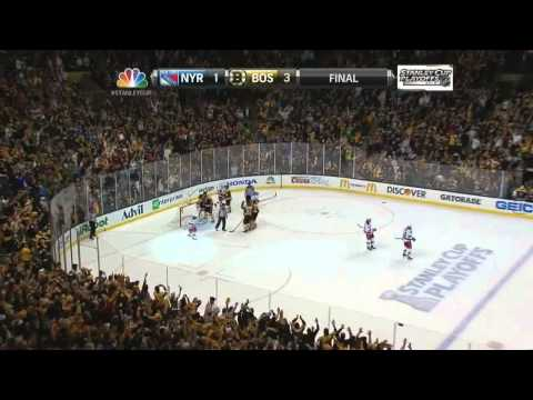 Gregory Campbell EN goal 3-1, handshakes. May 25 2013 NY Rangers vs Boston Bruins NHL Hockey